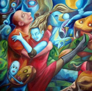 Dancing Away 24x24 inches.2013 (oil painting by A.Lavrov) vancouver, burnaby, direct from artist, affordable, contemporary, modern, original, canada, expessionism, surrealism, cubism, abstract, fresh, genuine, authentic