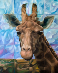 Giraffe 2015 20x16 surrealism, surreal, cubism, cubistic,expressionism, expression, whimsical, deep, philosophy, wiggly, humor, unusual, unique,imaginative, canada, canadian, vancouver, european, lavrov, alexander, alex