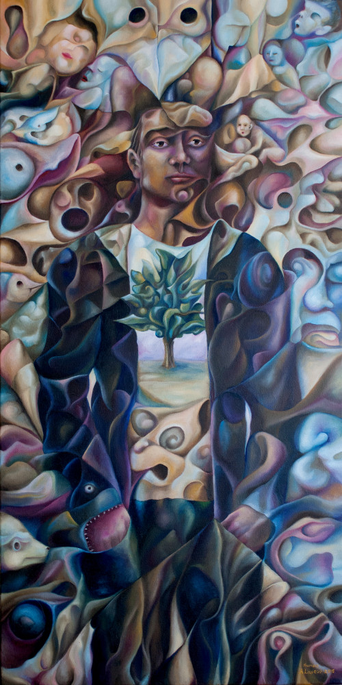 Human 2015 36x18 surrealism, surreal, cubism, cubistic,expressionism, expression, whimsical, deep, philosophy, wiggly, humor, unusual, unique,imaginative, canada, canadian, vancouver, european, lavrov, alexander, alex