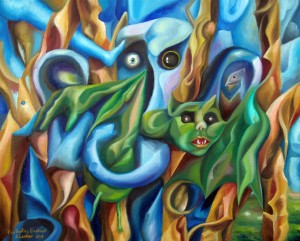 The Hunting Elephant 16x20 2013 (oil painting by A.Lavrov) vancouver, burnaby, direct from artist, affordable, contemporary, modern, original, canada, expessionism, surrealism, cubism, abstract, fresh, genuine, authentic